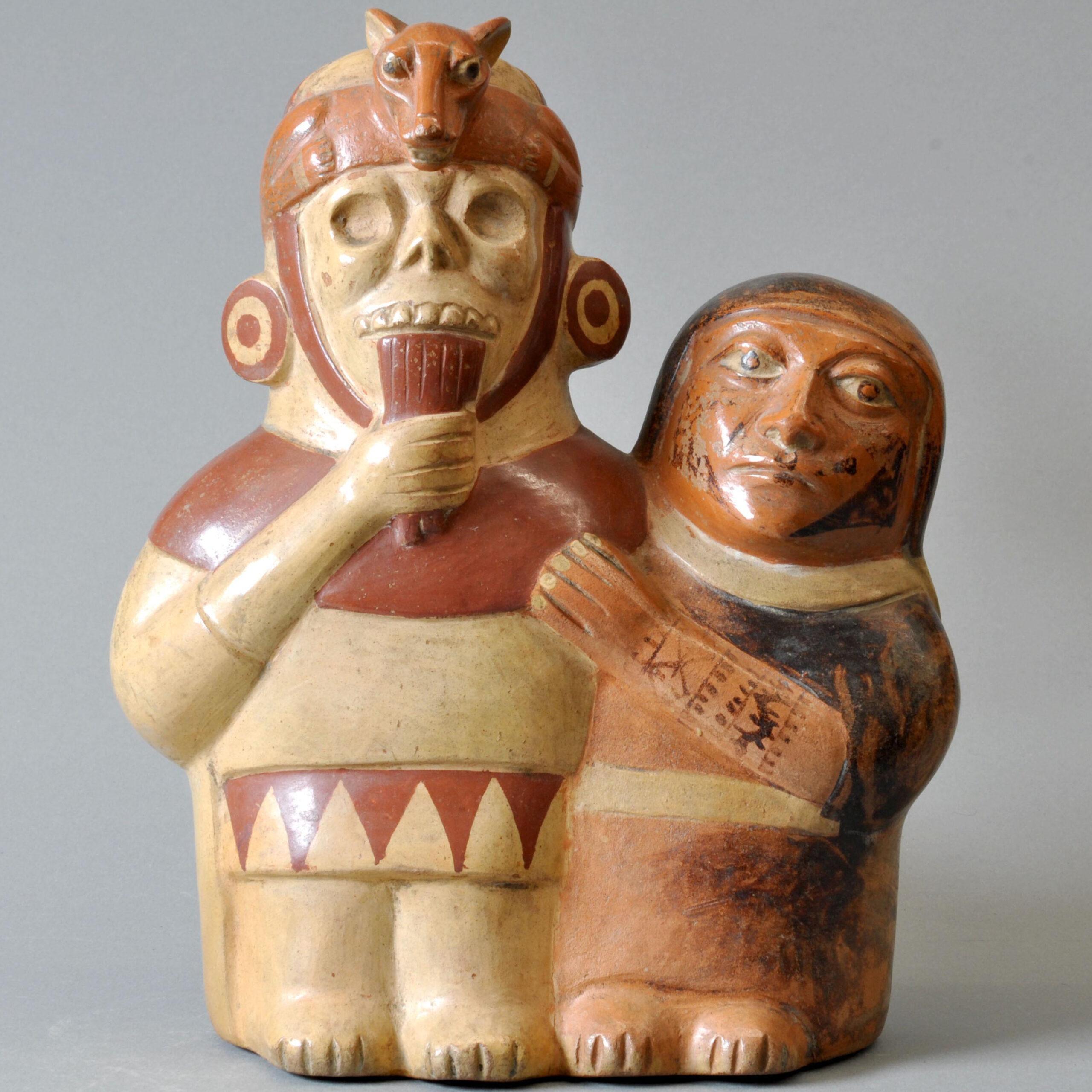 A ceramic figurine from the Moche culture of the north coast of Peru, depicting a human figure playing the panpipe. © Aguirre-Fernández/ Museum zu Allerheiligen Schaffhausen, Sammlung Ebnöther.